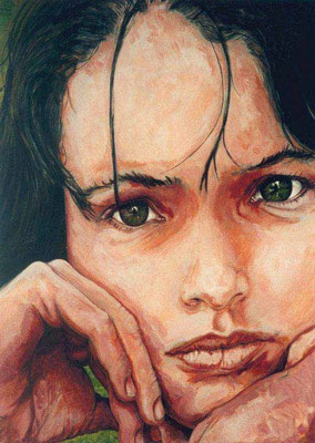 `Greeneyes´ -Acryl auf Leinwand, Format: 101Hx81Bcm, 2001