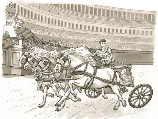 Illustration Pferderennen aus `Das Geheimnis des roten Mantels´, von Sabine Wierlemann, erschienen im Olms Verlag, 2. Auflage 2016