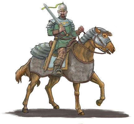 Krieger zu Pferde für Browsergame `Might and Fealty´, publiziert von Tom Vogt