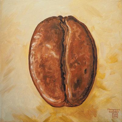 Stilleben `Kaffeebohne Maragogype´-Acryl auf Leinwand, Format: 40x40 cm, 2015