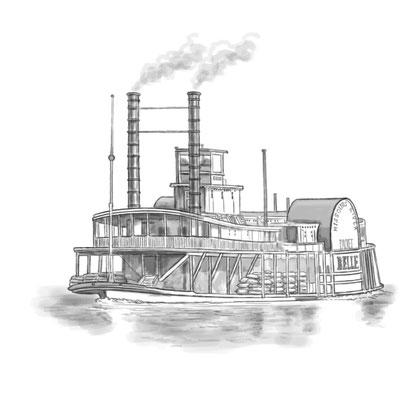 Vignette Raddampfer aus  `Onkel Toms Hütte´, von Harriet Beecher-Stowe, erschienen im SCM Verlag, 2014