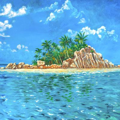 """Landschaft """"Seychellen"""" Acryl auf Leinwand, als Original und als Druck erhältlich"""