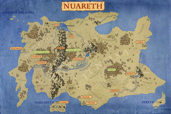 Landkarte für das Browsergame `Legenden von Nuareth´, publiziert von Jörg Benne