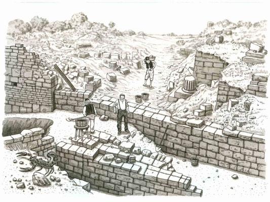 Illustration Ausgrabung aus `Der Fluch von Troja´, erschienen im  Loewe Verlag, 2010