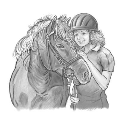 Illustration Freundschaft aus `Ein aufregender Pferdesommer´, von Inken Weiand, erschienen im SCM-Verlag, 2016