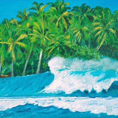 """""""Surfers' Paradise: Gischt vor Palmen"""" Acryl auf Leinwand, als Original und als Druck erhältlich"""