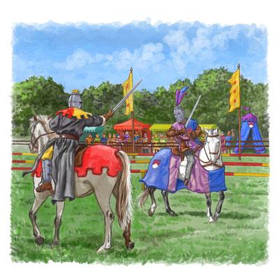 Illustration aus `Die Burg in der Ritterzeit´, erschienen bei Jacoby & Stuart, 2010