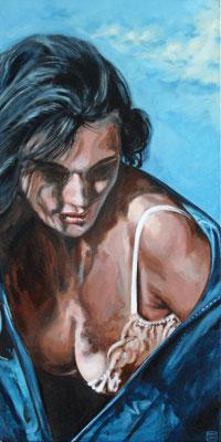 `Blaue Jacke´-Acryl auf Leinwand, Format: H70xB40, 2001