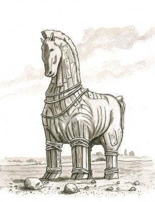 Illustration Trojanisches Pferd aus `Der Fluch von Troja´ erschienen im Loewe Verlag, 2010