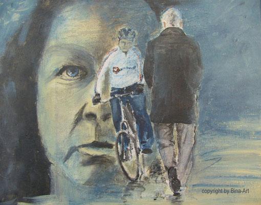 Binas Scheinwelt - Acryl auf Leinwand 30 x 24x 2 cm
