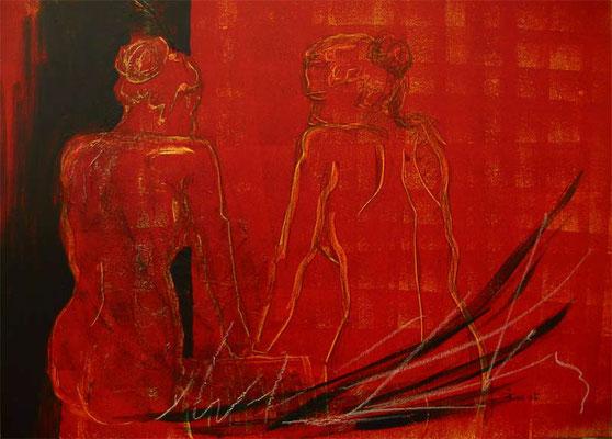 Acryl-Mischtechnik - Serie : Serie: Days goby (Rote Serie) - 70 x 50 cm Karton  und 30 x 30 cm Leinwand
