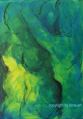 Acryl-Mischtechnik - Serie : Unterwassergeschichten - 50 x 70 cm Karton