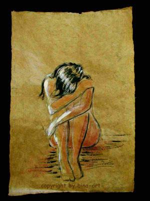Kohle Gouache auf Hanfpapier - Serie : Melancholie auf Hanf - 50 x 70 cm