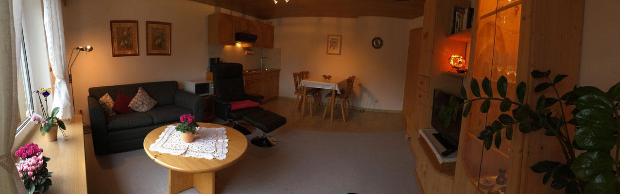 Wohnraum mit Schlafsofa, Küchenzeile und Essecke