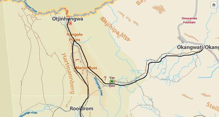 7 bivouac au pied du Van Zyl ; 8 camp aménagé Synchro sur les bords de la Kunene