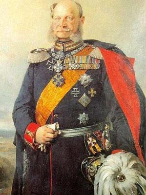 Kaiser Wilhelm I. -  er stiftete das Eiserne Kreuz 1870/71 neu, zeitgen. Ölbild um 1879