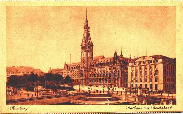 Zeitgenössische Postkarte ca. 1920  - Rechts das Reichsbankgebäude Hamburg