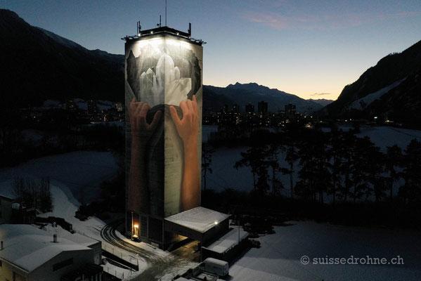 Mühliturm Chur mit grössten Graffiti der Schweiz