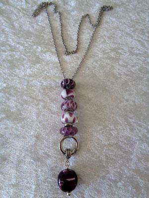 Edelstahlkette mit Pandora und Glasanhänger in lila