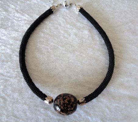 Peyoteschlauch mit Glasperle 45 Euro schwarz - Goldfluss
