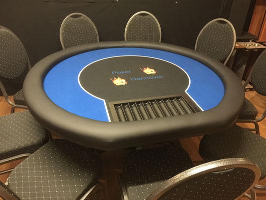 Durchmesser 1, 40m,Dealerplatz, Chiptray, individuell bedrucktes Casinotuch, Sockelbein