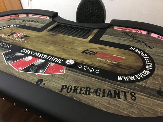 Maße 2,40m x 1,20m, individuell bedrucktes Casino-Tuch, LED, Chiptray, Ziernägel, Chrombeine