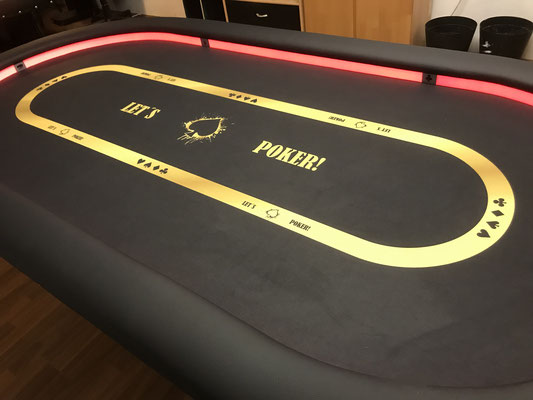 Maße 2,40m x 1,20m, individuell bedrucktes Casino-Tuch, LED, Ziernägel, H-Gestell