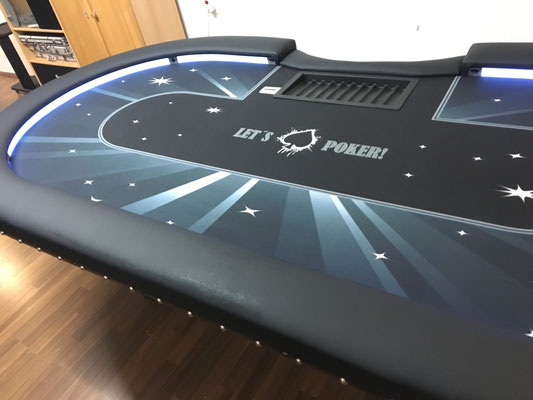 Maße 2,40m x 1,20m, individuell bedrucktes Casino-Tuch, LED, Dropbox, Chiptray H-Gestell