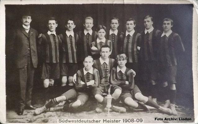 Südwestdeutscher Meister 1908/09 (Foto: Archiv Eric Lindon)