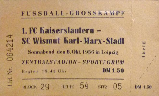 Eintrittsikarte zum Spiel im Zentralstadion in Leipzig (Foto: Archiv FCK-Museum)