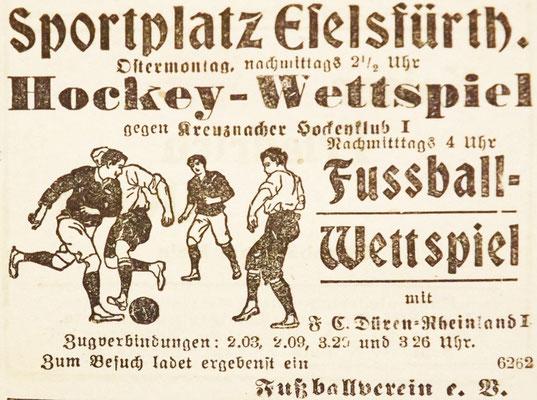 11.04.1914 - Veranstaltungsplakat Hockeyspiel FVK-FC Düren (Foto: Archiv Eric Lindon)