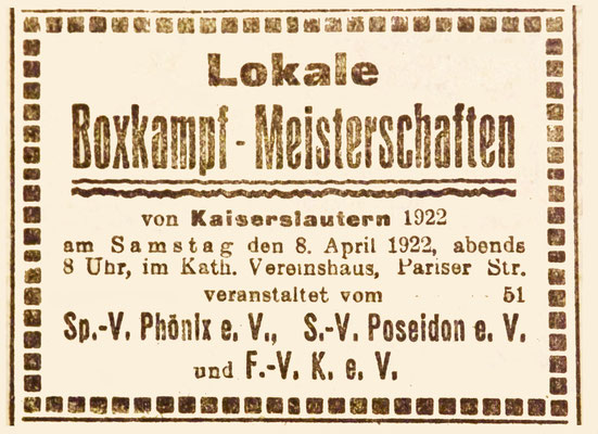 07.04.1922 - Box-Meisterschaften FVK-Phx. Poseidon (Foto: Archiv Eric Lindon)