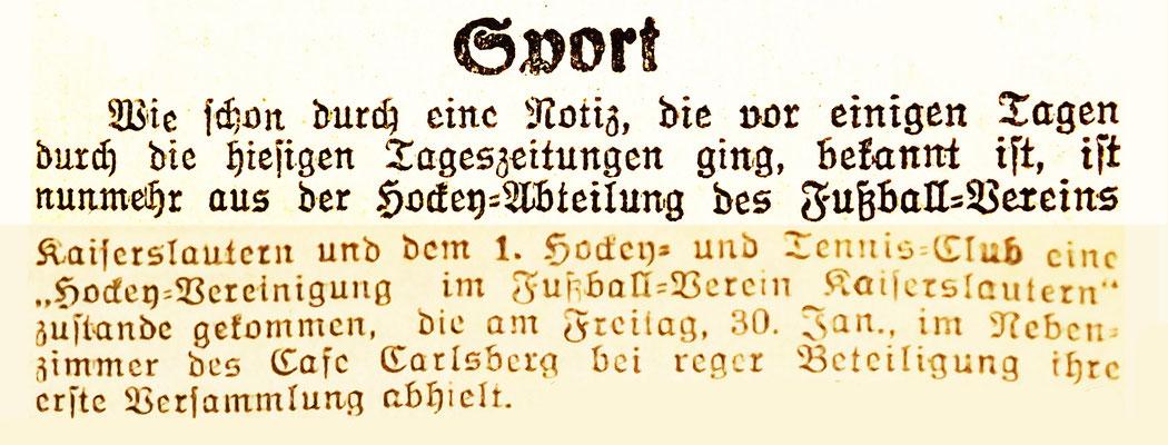 Foto: Archiv Eric Lindon (Pfälzische Presse vom 04.02.1926)