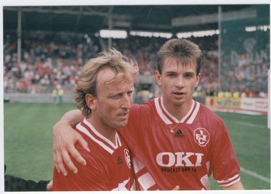 Trafen in Duisburg insgesamt fünfmal, Andy Brehme und Pavel Kuka (Bild aus der Saison 94/95)