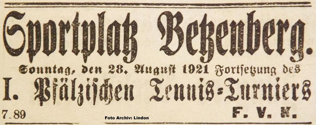 26.08.1921 - 1. Tennis-Pfalzturnier Betzenberg (Foto: Archiv Eric Lindon)