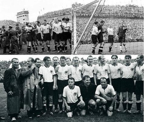 Collage aus dem Finale. Glückliche Sieger, starker Toni Turek (Quelle: DFB)
