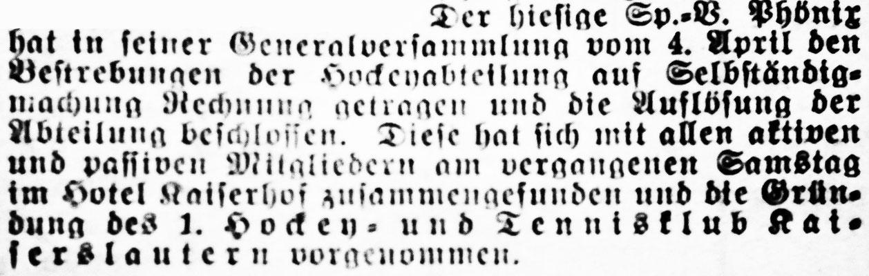Foto: Archiv Eric Lindon (Pfälzische Volkszeitung vom 09.04.1925)