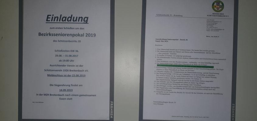 Einladung und Ausschreibung zum Schießen um den BezirksSeniorenPokal 2019