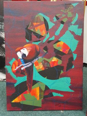 Papagei, Acryl- Schichttechnik, Leinwand, 50x70 cm (2015)