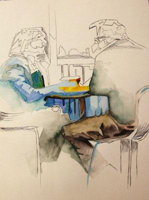Im Café, Mischtechnik mit Aquarell und Kulli, Aquarellpapier, 30x40 cm (2013)