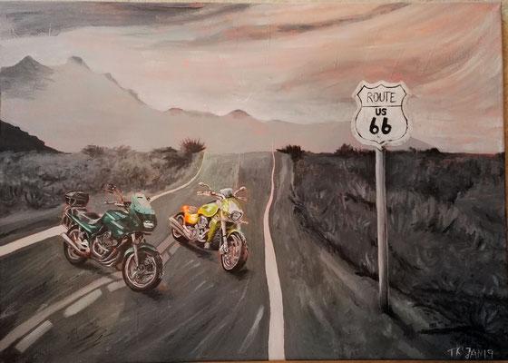 Route 66, Acryl, 50x70 cm, Januar 2019 (freie Auftragsarbeit)