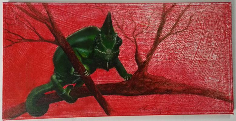 Abwartend, Airbrush, 50x25 cm, September 2016
