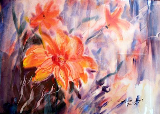 Blumen, Aquacrylgemälde, Spezialpapier, 50x70 cm (2013)
