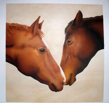 Pilgrim & Rossil, Airbrushportrait nach einer Fotovorlage, Airbrushpapier, 30x40 cm (2012)