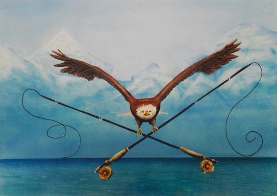 Fliegenfischerei, Airbrush auf Spezialpapier, 40x50 cm, Oktober 2017 (Auftragsarbeit)