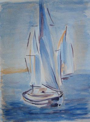 Segelboote, Aquarell, Aquarellpapier, 30x40 cm (2013)