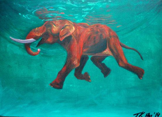 Mit Tiefgang, Acrylgemälde nach einer Fotovorlage, Leinwand, 50x70 cm (2014)