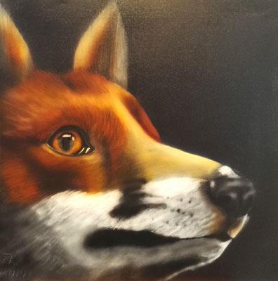 Rotfuchs, Airbrush, 40x40 cm, Mai 2019