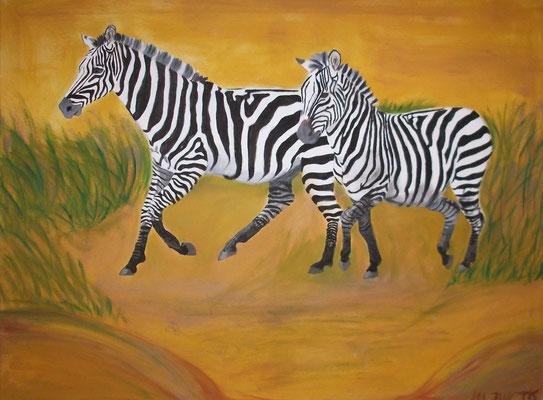 Zebras, Ölgemälde, Leinwand, 50x70 cm (2011)