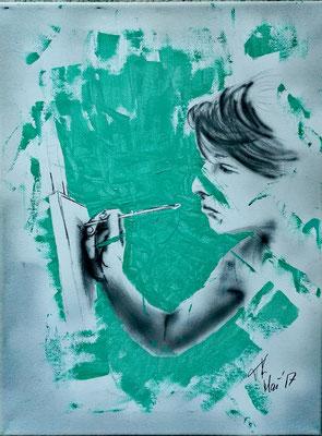 Beim Malen, Acryl-Airbrush-Mischtechnik, 30x40 cm, Mai 2017